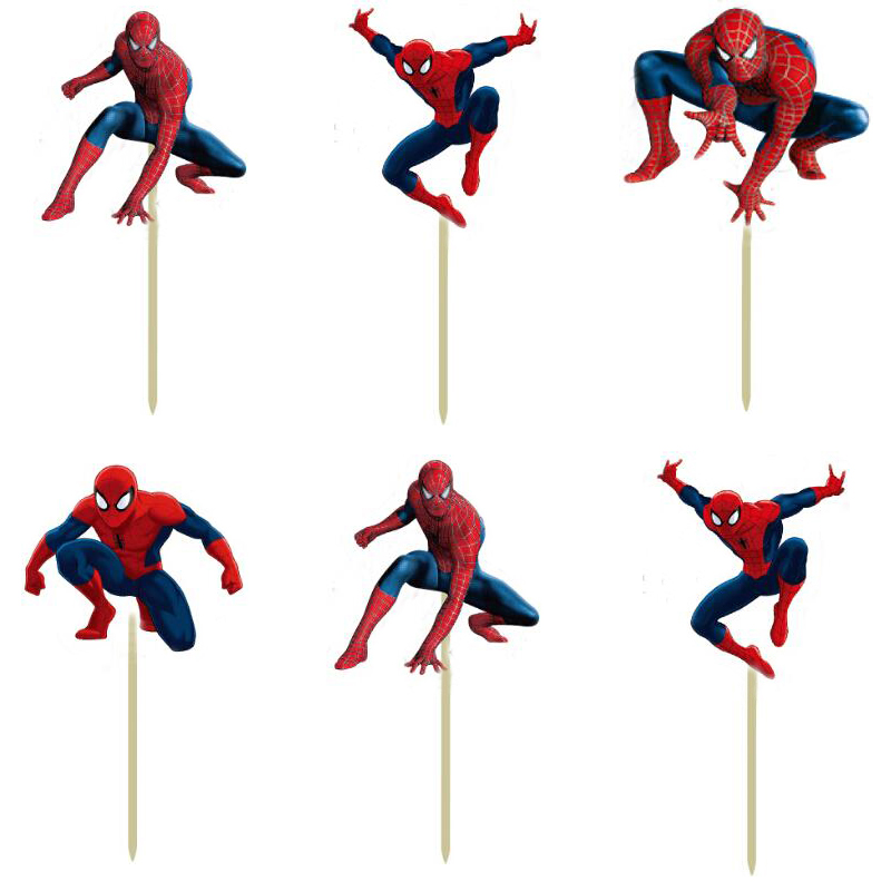 Free shipping 96pcs Spiderman Cupcake Toppers Picks Boy's birthday party decorations kids party supplies favors and gifts image