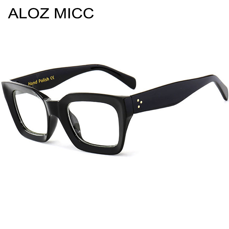 ALOZ MICC Black Frame Square Transparent Glasses Women Retro Acetate Men Eyeglasses Clear Lens Glasses Frame Q263