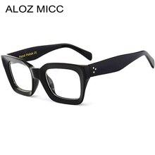 9a1bbca2c ALOZ MICC أسود الإطار ساحة نظارات شفافة النساء خلات الرجعية الرجال النظارات  واضح عدسة النظارات الإطار