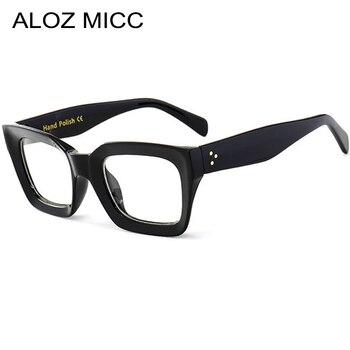 ALOZ MICC Black Frame Square Transparent Glasses Women Retro Acetate Men Eyeglasses Clear Lens Q263