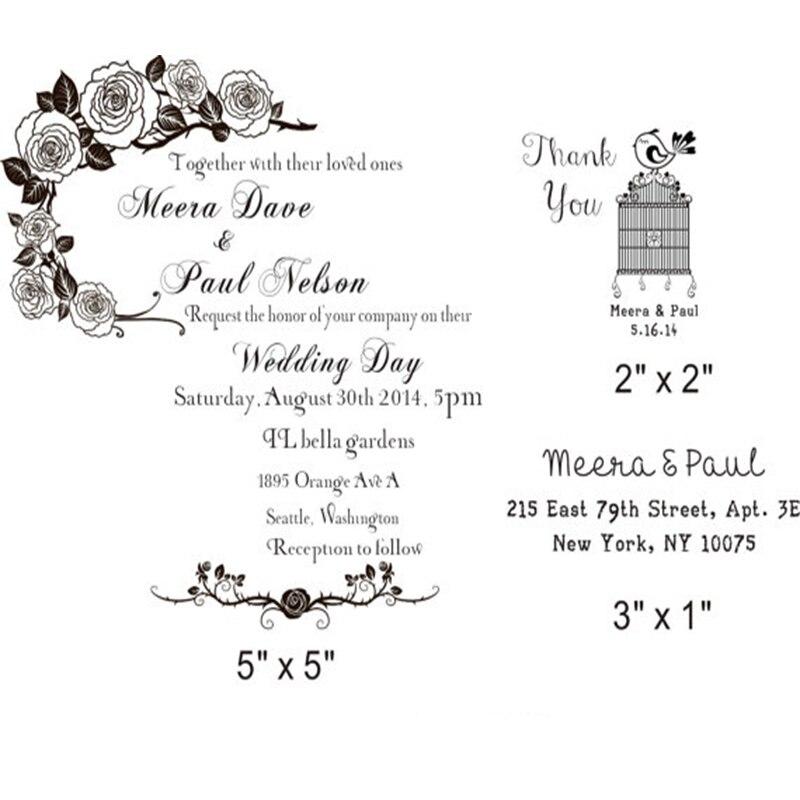 DIY Wedding Invitation Rubber Stamp W/ Invitation + Thank You + Return  Address Custom Stamps