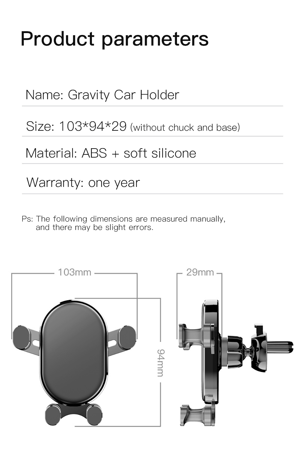 !ACCEZZ Universal Gravity Car Phone Holder In Car Air Vent Mount Stand For iPhone 6 7 8 X XS Samsung Xiaomi Mobile Phone Bracket (16)