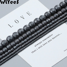 WLYeeS Polish Matte Faceted Round beads Black Hematite Natural Stone 2-10 mm Spacer Loose Beads for Jewelry Bracelet Making DIY