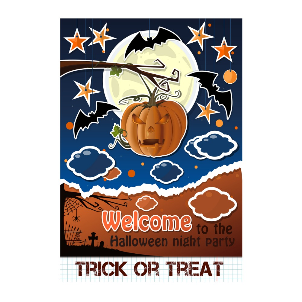 welcome to halloween party designed with double sided decorative