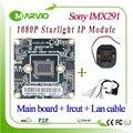 1080 p 2.1mp jantar a luz das estrelas de baixa iluminação colorida night vision sensor de imagem sony imx291 módulo de câmera de rede ip, Onvif