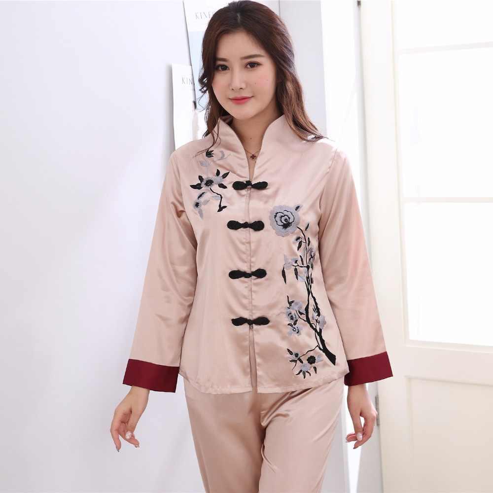 ピンク伝統的な中国女性のシルクパジャマセット刺繍花パジャマスーツホームウェアパジャマ花2ピースml xl xxl 3xl