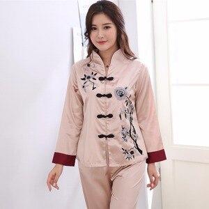 Image 5 - Różowy tradycyjnych chińskich kobiet zestaw jedwabnych piżam haftowany kwiat piżamy garnitur odzież domowa bielizna nocna kwiat 2 sztuk M L XL XXL 3XL