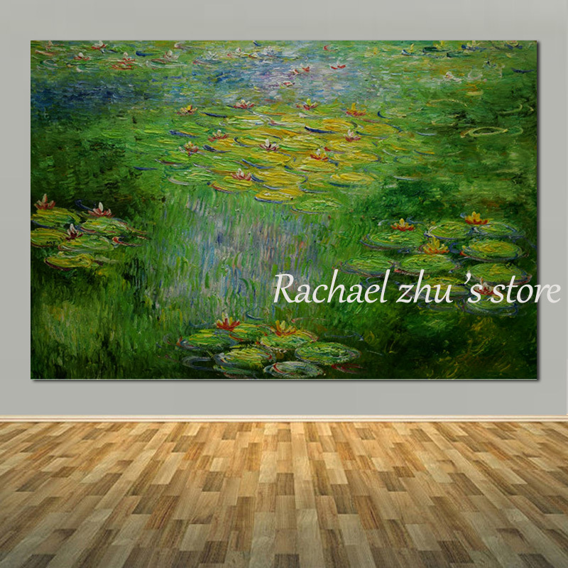 Grande taille peint à la main abstraite nénuphar étang mur peinture à l'huile sur toile mur paysage photos pour salon décor à la maison