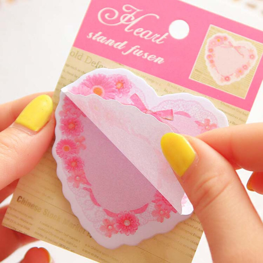 Lovely Heart Patterns Memo Pads Sticky Notes Marker Mixed Color At Random Stationery School Office Supplies 1 Piece