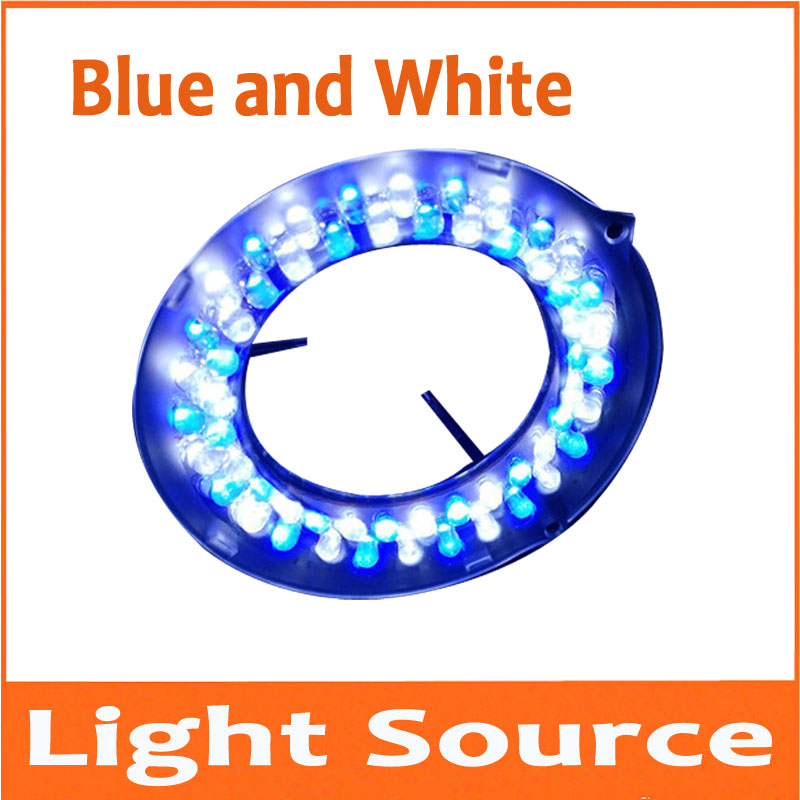 56pcs White and Blue Colorfull LED Adjustable Zoom Microscope Lamps Light Microscope Ring Bulb Laser welding Lamp Light Source