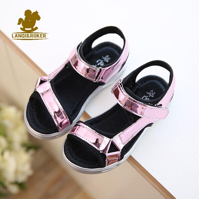 Hot Sale New Fashion Children Sandals Kids Girls Sequin Sandals Summer Boys Girl Pink Gold Silver Sandals Shoes Size 27-37