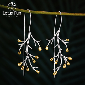Lotus Fun Real 925 Sterling Silver Earrings Natural Creative Fine Jewelry Statement Tree Fashion Drop Earrings for Women Brincos natural stone 925 sterling silver drop earrings fine jewelry earrings for women aj