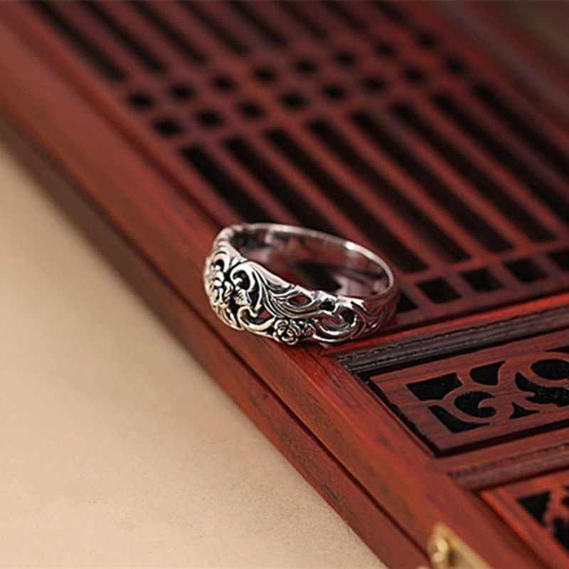OMHXZJ ขายส่งยุโรปแฟชั่นเครื่องประดับร้อนผู้หญิงสาววันเกิดงานแต่งงานของขวัญ Vintage ดอกไม้ Rose Tai แหวนเงิน RR839