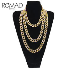 Romad 14mm Men's Hip Hop Bling Bling Iced Out Necklace Tennis Chain Necklaces Luxury Brand Silver Gold Color Men Long Chain G5NG(China)