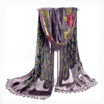 Gray Handmade Beaded Embroidery Shawl Scarf Chinese Style Women Velvet Silk Scarves Peacock Flower Wrap Tassels Bufanda NP058 цена 2017