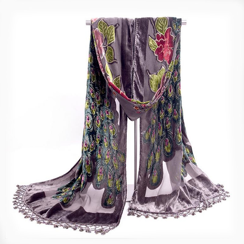 Gray Handmade Beaded Embroidery Shawl   Scarf   Chinese Style Women Velvet Silk   Scarves   Peacock Flower   Wrap   Tassels Bufanda NP058