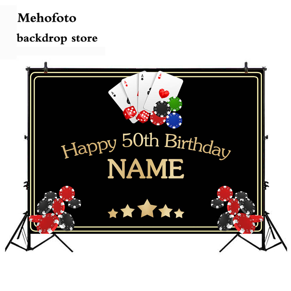 Neoback Casino backdrop for photography 50th happy birthday theme party decoration banner photo background studio printed 451