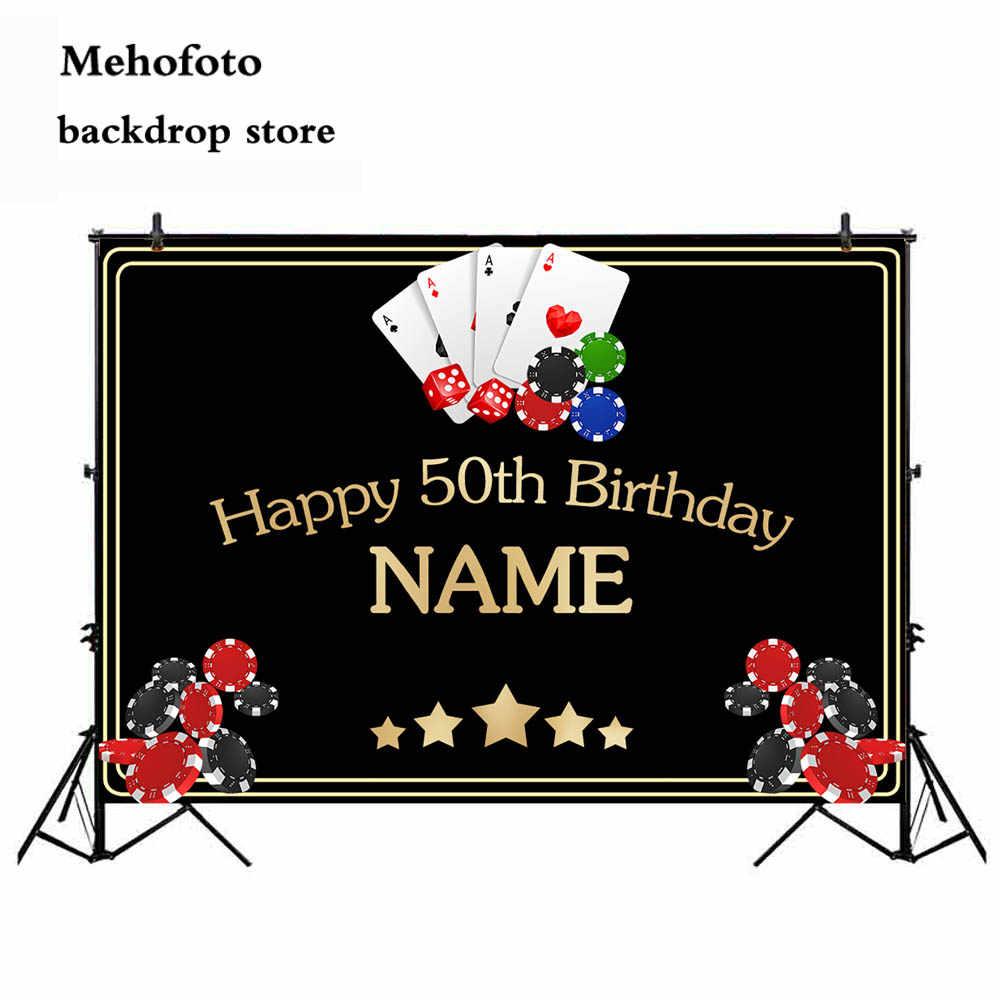 Neoback kasyno tło dla fotografii 50. Z motywem życzeń urodzinowych strona dekoracji banner zdjęcie tło studio drukowane 451