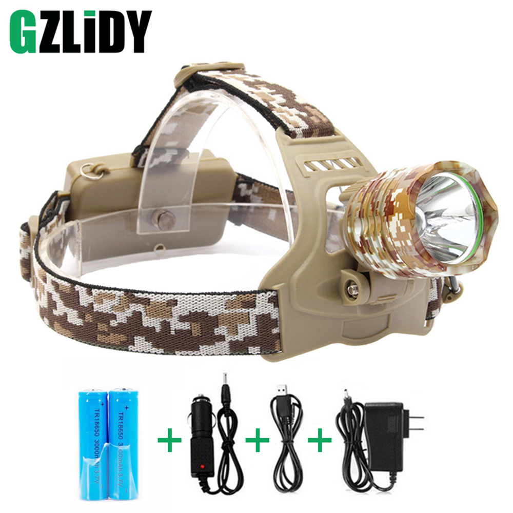 XML T6 LED Headlight 3-Mode 4000LM Rechargeable Headlight Camouflage Head Torch Lantern Lamp Camping Hunting 18650 Battery maimu 8000lm usb power led headlamp cree xml t6 3 modes rechargeable headlight head lamp torch for hunting 18650 head light d14