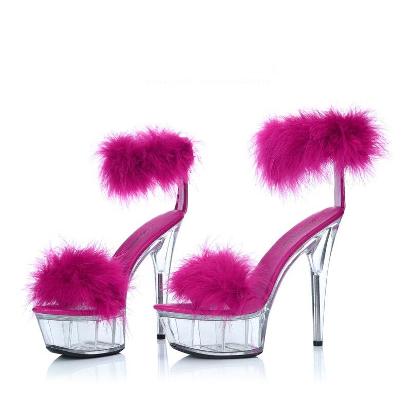 ФОТО Fashion Rabbit Fur Sandals 15CM High Heel Shoes Car Model Platform Clear Pumps Bridal Wedding Shoes Pole Dancer Sexy Shoes Plus