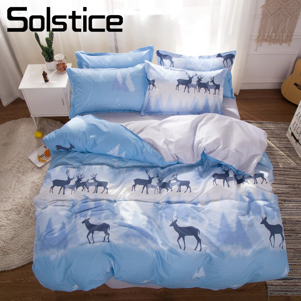 Solstice Home Textile Deer Elk Nordic Boy Bedding Sets Blue Soft Kid Teen Girls Bedlinen Duvet Cover Pillowcase Bed Sheet 3/4Pcs