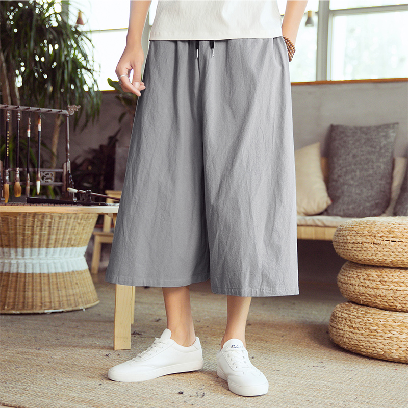 4 Colors Men Clothing Summer Casual Loose Wide Leg Pant Male Women Cotton Linen Skirt Trousers Travel Harem Pant