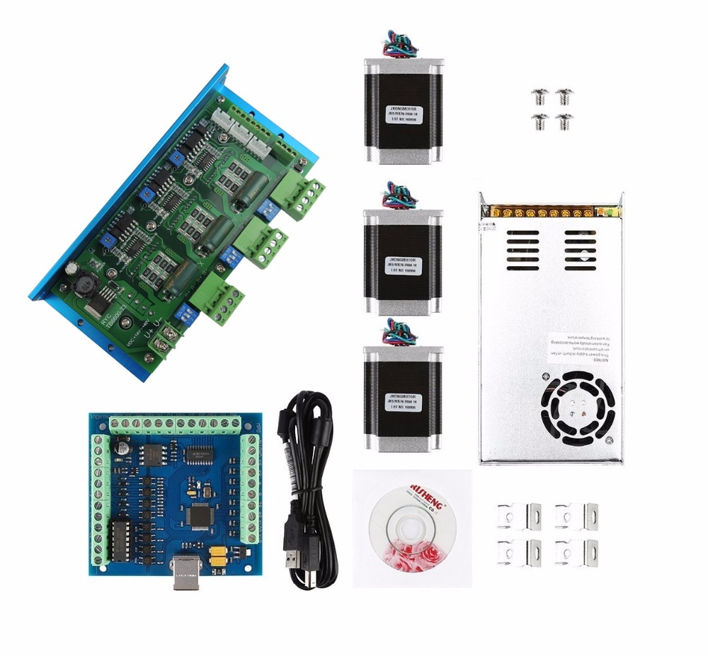 mach3 CNC USB 3 Axis Kit,TB6600 3 Axis stepper motor driver+USB controller card 100KHz + 3pcs nema23 270oz in motor+power supply