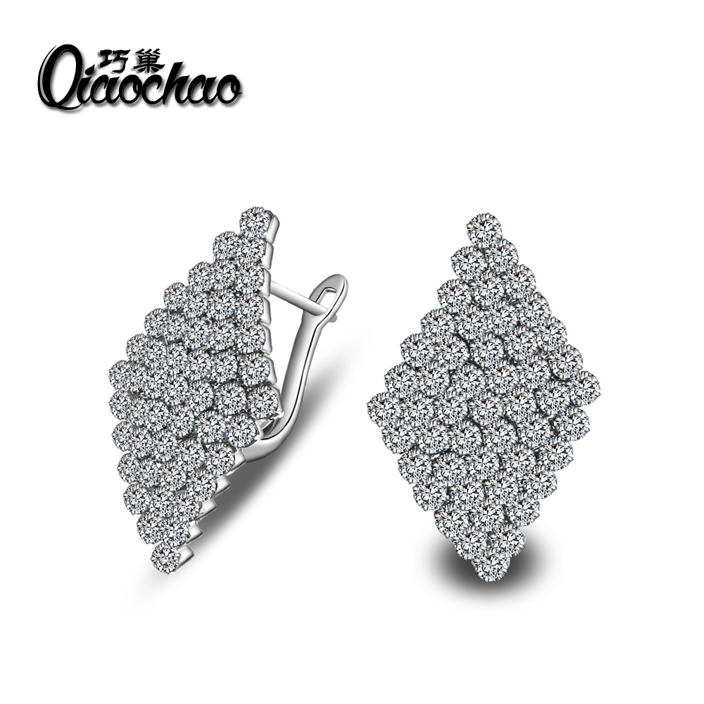 Fashion Square Korean Zircon Small White zircon font b crystal b font Hoop Earrings for Women