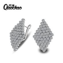 Fashion Square Korean Zircon Small White zircon crystal Hoop Earrings for Women Luxury Jewelry Drop Shipping