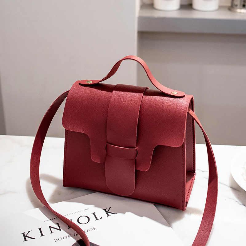 83987ff51e1 Fashion Women Leather Simple Handbags Small Shoulder Bags Korean Crossbody  Bags For Women 2018 Mini Messenger