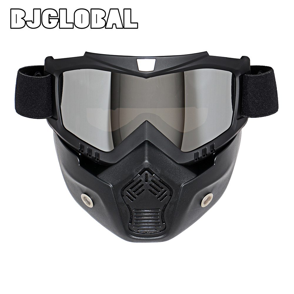 dust goggles byz3  NEW Retro Motorcycle Goggles Glasses Face Dust Mask With Detachable Nose  and Face Sunglasses Gafas Oculos