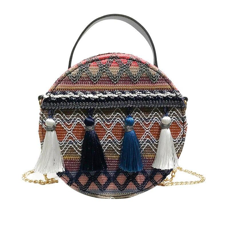 Handbag Women Ins Super Fire National Wind Portable Chain Small Round Bag Tassel Packet Bags  #T08