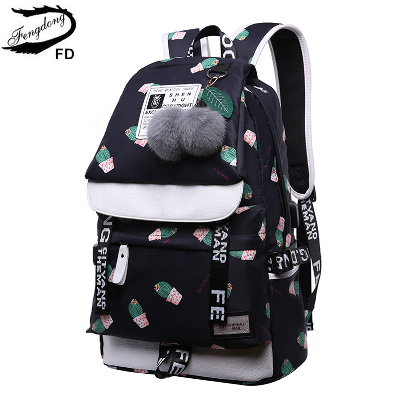 FengDong cute cactus printing school backpack for girls waterproof bag children school bags female travel laptop backpack usb fengdong brand female laptop backpack women travel bags high school backpack for girls black and white waterproof chest bag set
