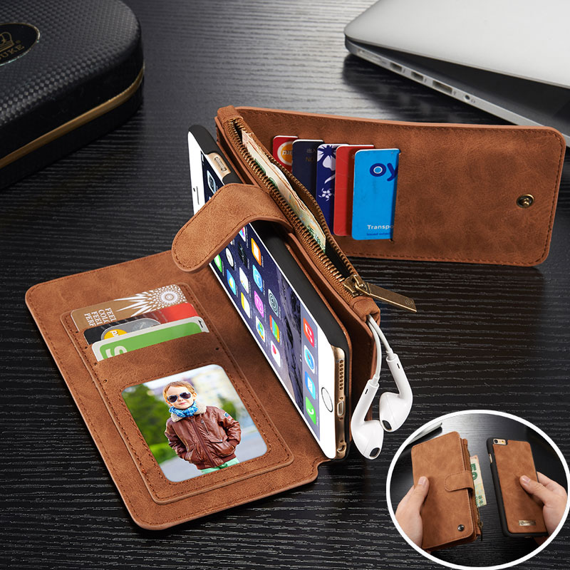Genuine Leather Cell Phone Wallet Bag Cover Case For Apple