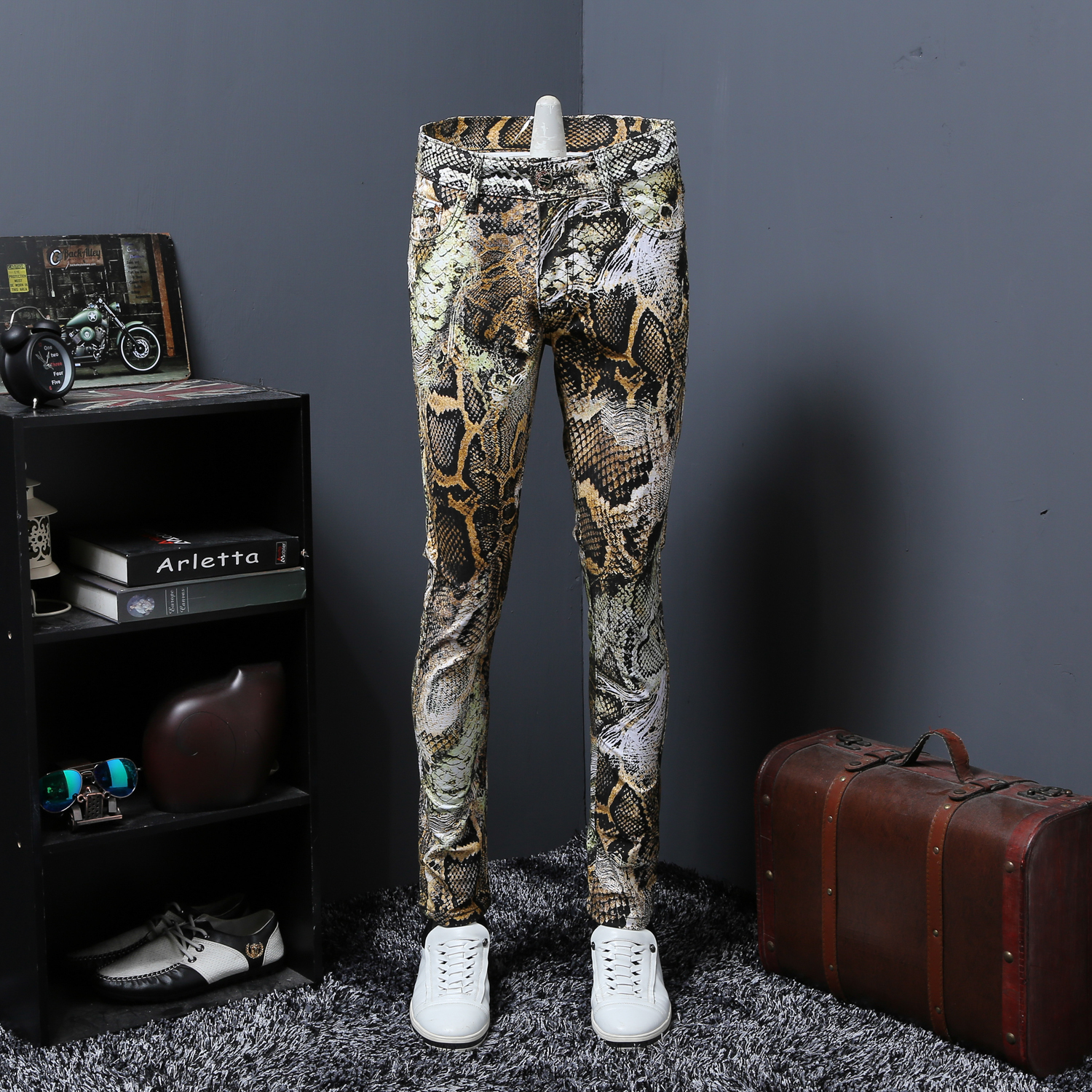 Thin Section Snake Grain Printing Jeans Male Coloured Drawing Or Pattern Nightclub Personality Trousers Flower Pants