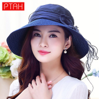 PTAH 2017 Newest Women S Summer Foldable Wide Large Brim Beach Sun Hat Straw Beach Cap