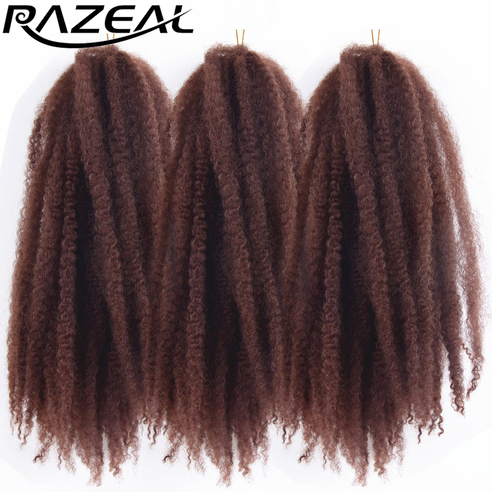 Razeal 5Packs Afro Kinky Marley Braids Hair Crochet Braids