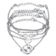 Fashion Heart Beads Earth Map Bracelet Silver Color Geometry Bangle Women Female Beach Jewelry
