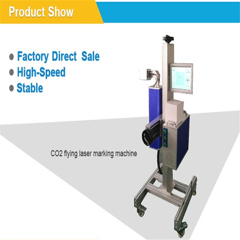 No consumption 30W flying type CO2 laser marking machine for Food,medicine, dairy products,beverage