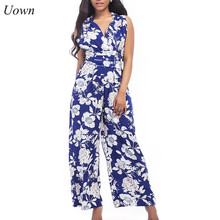 Uown для женщин; Большие размеры с цветочным принтом широкими штанинами Элегантные без рукавов сзади крест лук пояса комбинезоны с длинными штанами летние пляжные комбинезон