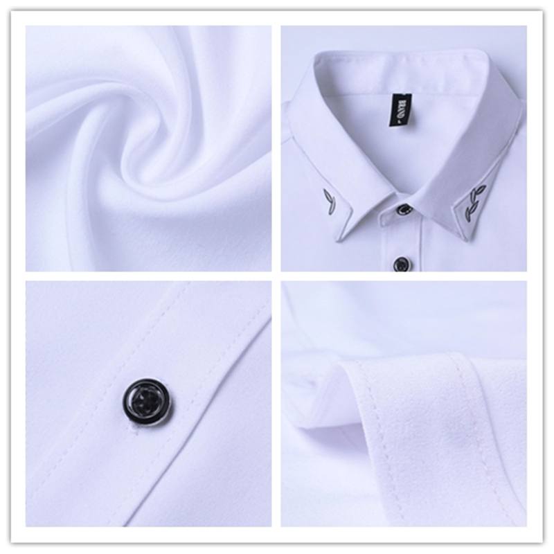 BROWON Brand New Summer Hommes Tuxedo Shirt Unicolore Turn Down - Vêtements pour hommes - Photo 6