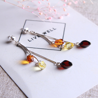 Hot professional design national wind pure natural amber beeswax earrings 925 sterling long genuine factory outlet special