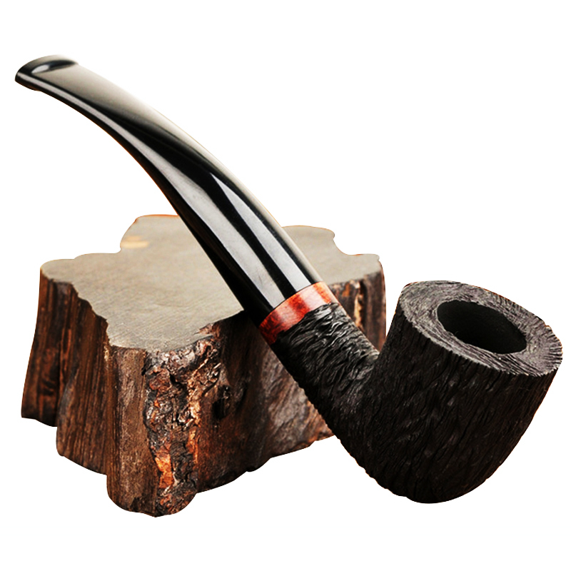 Wooden Pipes For Smoking Briar Wood Bent Type Pipe Carving Pipes Smoke Tobacco Cigarettes Filter Dismountable Handle Pipe