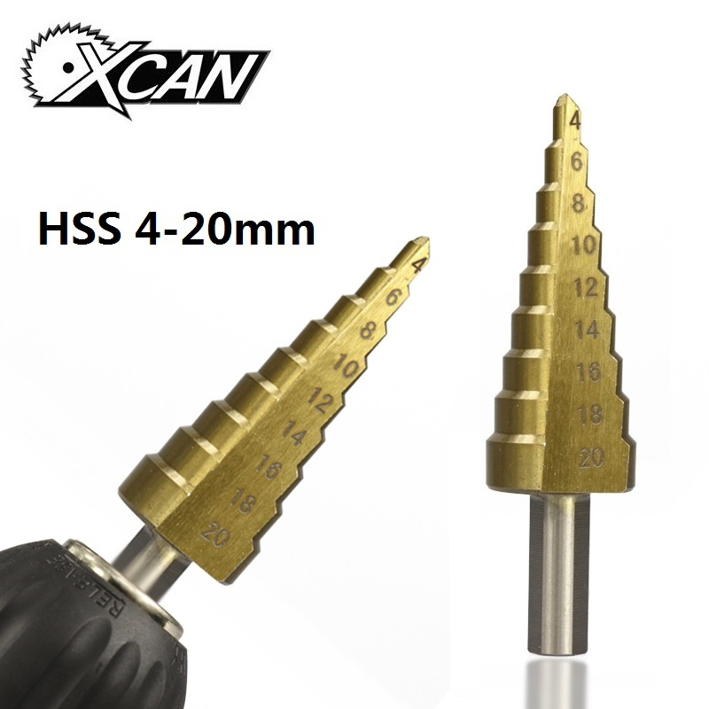 Xcan 1pcs/4-20mm High Speed Steel Drill Bits Metal Center Drilling Steel Step Drill Bit Metal Hole Cutter Pagoda Drill
