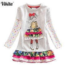 retail NEAT 2014 new free shipping lace dress baby girls long sleeve print embroidery children clothing kids wear 66112