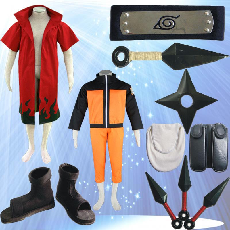Adult Unisex Cartoon Character Costumes Full set Naruto Uzumaki Cosplay Costume from Naruto Shippuden Anime