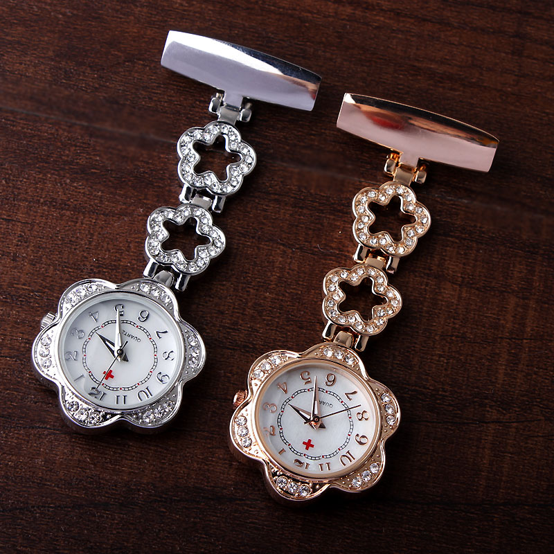 Fashion Full Crystal Dial Steel Nurses Pin FOB Watch Clip-on Flower Dial Hanging Brooch Round Pocket Watch Men Women Hour Clock luxury laciness design nurses watch women men rose gold silver pin clip on pocket watch hanging brooch ladies gifts nurse watch