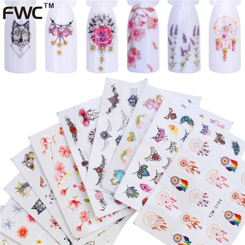 ZKO 2019 NEW Nail Stickers Water Decals Butterfly Rose / Wolf / Necklace / Plum Slider Manicure Nail Art Decoration