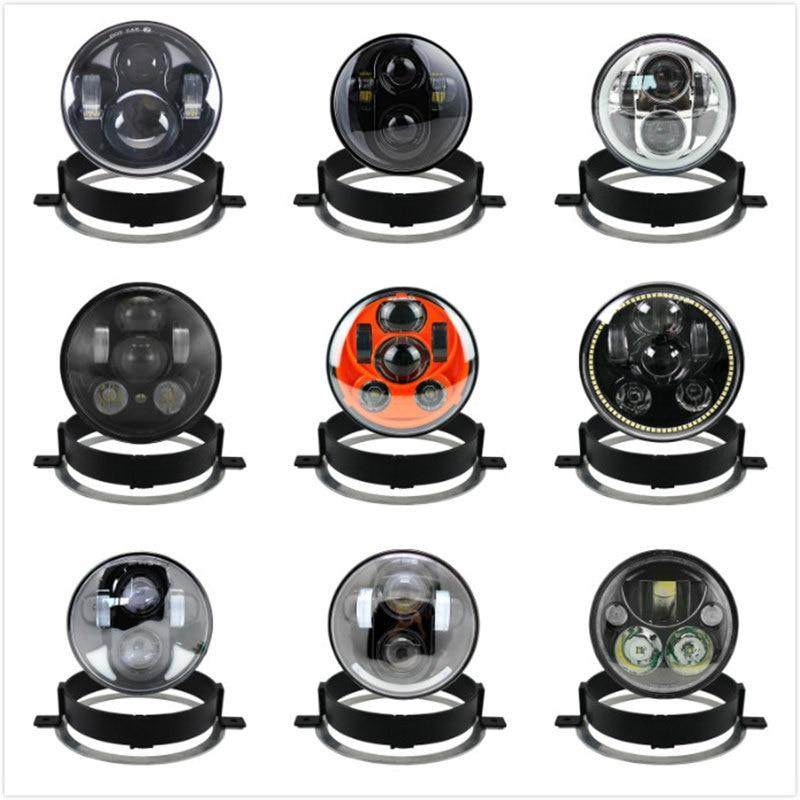Pour Honda 2006 VTX 1300C 1800 Nouveau Moteur Anneau de Garniture De Montage Support Anneau Noir/Chrome 5.75 pouces LED moto Phare