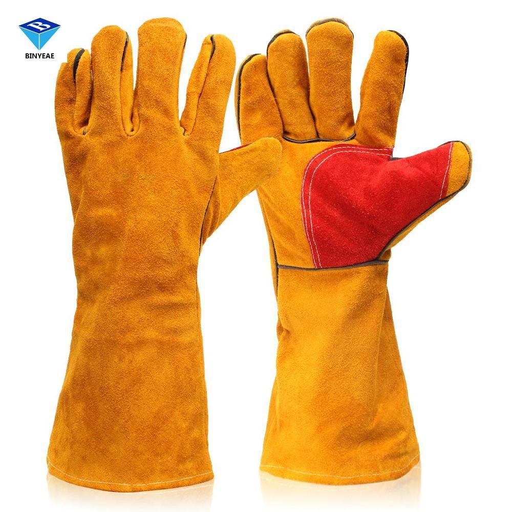 Leather work gloves for welding - 1 Pair 16 Heavy Duty Lined Reinforced P Alm Welding Gauntlets Welder Labor Gloves Safety Gloves
